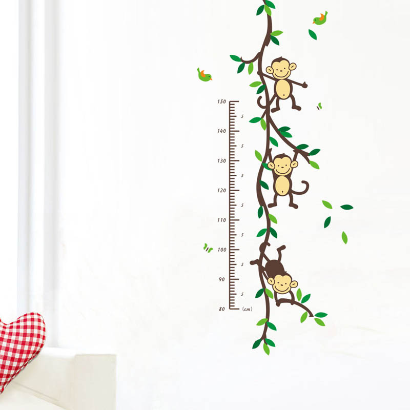 Cute Removable PVC Wall Posters Sticker Monkey Children Height Measure Decor Home Decoration 50x110cm adesivo de parede E#CH