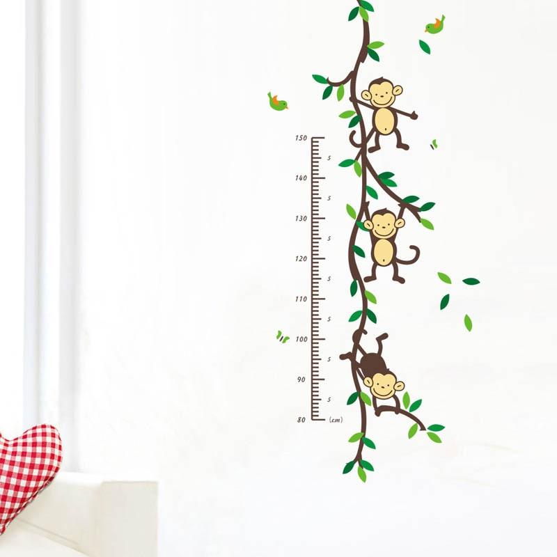 Cute Removable PVC Wall Posters Sticker Monkey Children Height Measure Decor Home Decoration 50x110cm adesivo de parede E#CH
