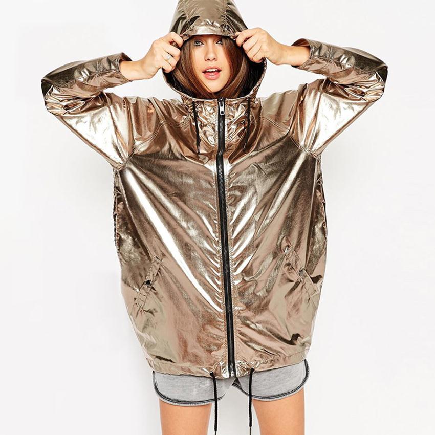 Rock coat Gold Jacket Women Hooded Zipper Punk Rock Dance Wear ...