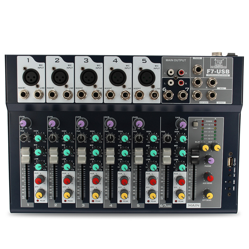 Leory 48V 7 Channel Professional Karaoke Stage Live Studio Audio Mixer Amplifier USB Mixing Console DJ KTV Show ct 80s usb di mixer professional amplifier mixer 8 channel stage audio mixer karaoke mixer mixing console mesa dj preamplifier