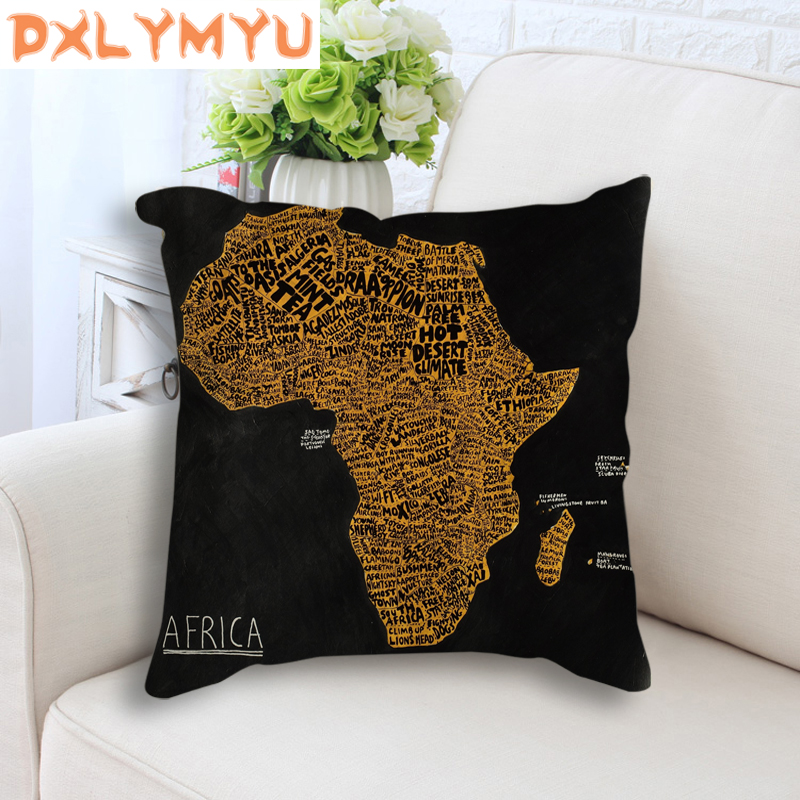 Decorative Cushion Case African Map Art Home Decor Throw Pillow Case Room Sofa Bed Cushion Cover Cartoon Pillowcase in Cushion Cover from Home Garden