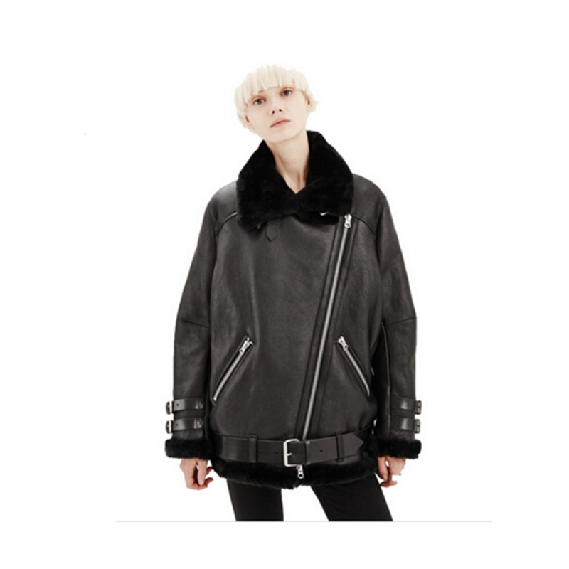 2016 Women Real Rabbit Fur Faux Leather Short Suede Shearling Coats Zipper  Clothing Vintage Motorcycle Jacket - Compare Prices On Coat Faux Shearling- Online Shopping/Buy Low