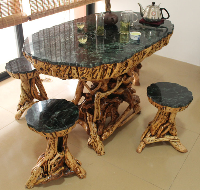 Carved Wood Coffee Table Tea Table Tea Sets Roots Outdoor Marble