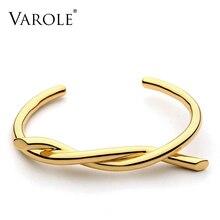 VAROLE Line pulsera de Color dorado con giro para mujer, brazalete de Color dorado