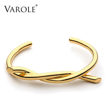 VAROLE קו טוויסט צמיד שרוול צמידי צמידים לנשים Noeud Armband זהב צבע צמיד Manchette צמידי Pulseiras