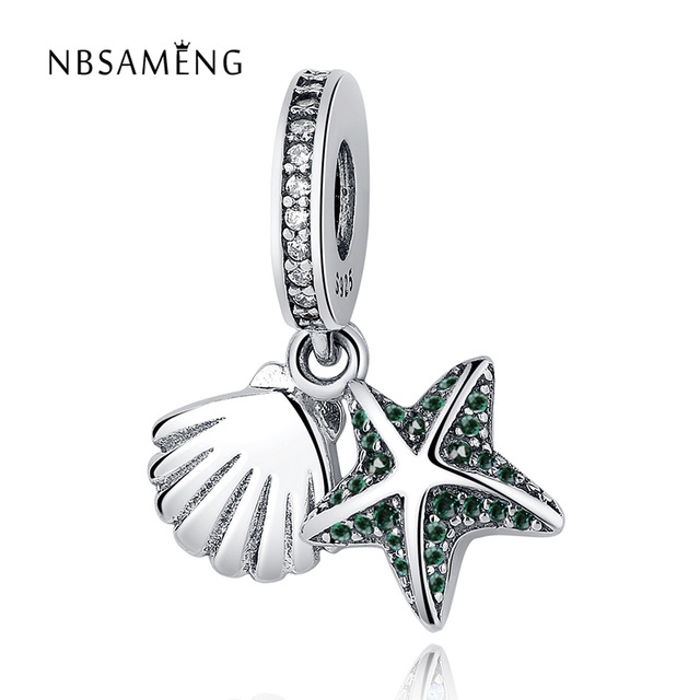 Summer Newest 925 Sterling Silver Beads Tropical Starfish & Sea Shell Pendant Charms Fit Original Pandora Bracelets Jewelry