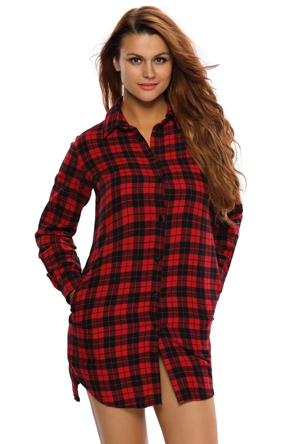 Adogirl Women Black Red Plaid Shirt 2017 Autumn Sale Lady Female Turn Down  Collar Button Long - Popular Black Plaid Shirt Women-Buy Cheap Black Plaid Shirt Women
