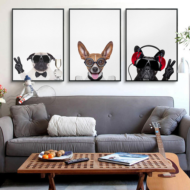 Art Print Funny Animal Dog Home Decoration Painting, Kids Room Photo Home  Decor Poster Canvas