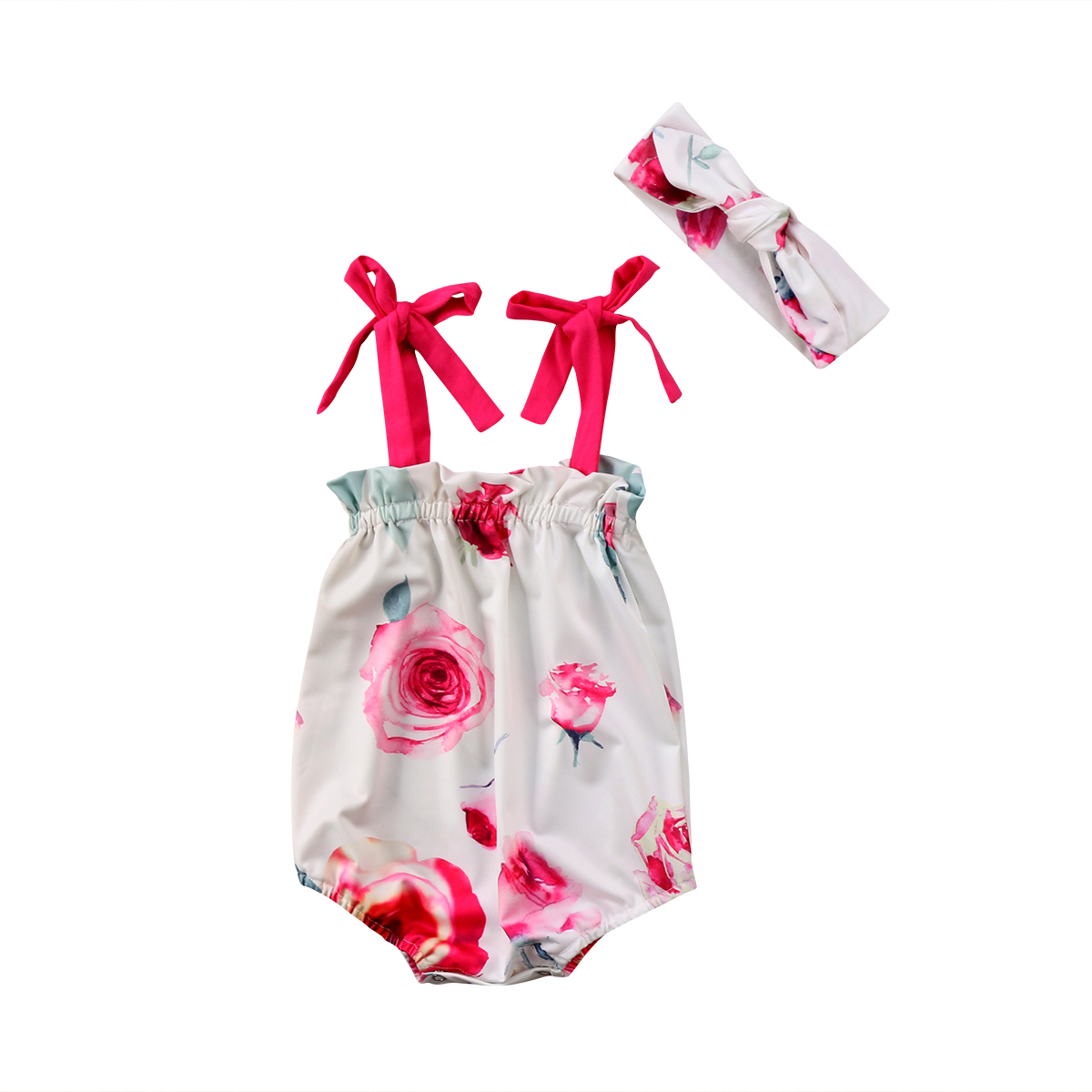 2Pcs Toddler Newborn Baby Girl Bandge Kid Floral Romper Jumpsuit Jumper Headband Clothes Outfits