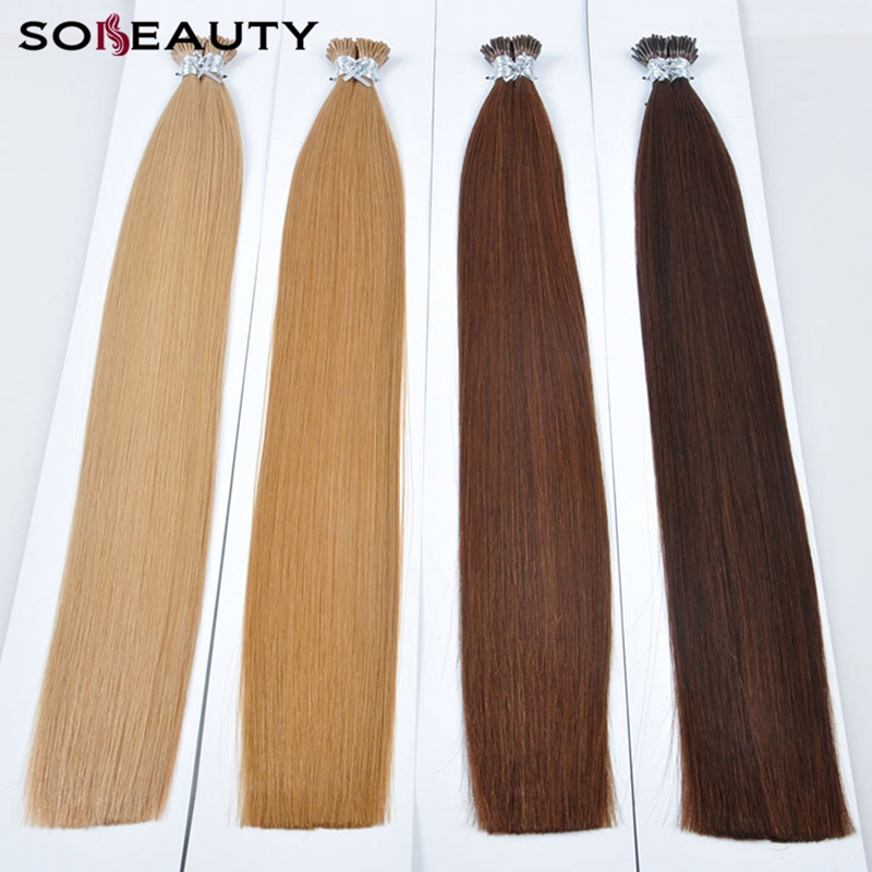 Sobeauty Human Hair I Tip Extensions 50stand/pack  0.8g/1s Fusion Hair Extensions Human Hair Remy