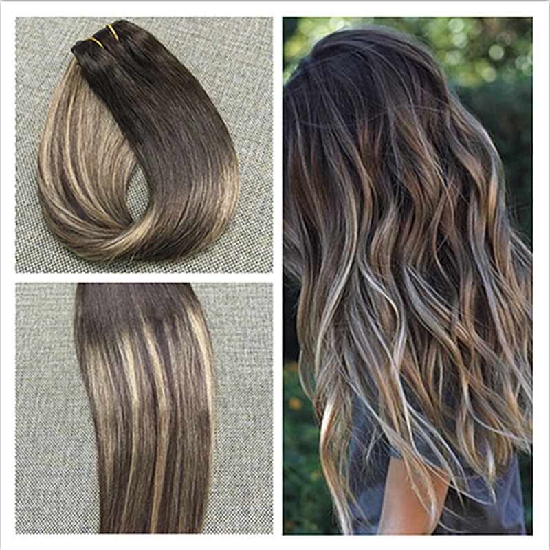 Full Shine Balayage Hair One Piece Clip in Human Hair Extensions 50g Per Piece Brazilian Remy hair Clip ins Ombre Color 3#24#3