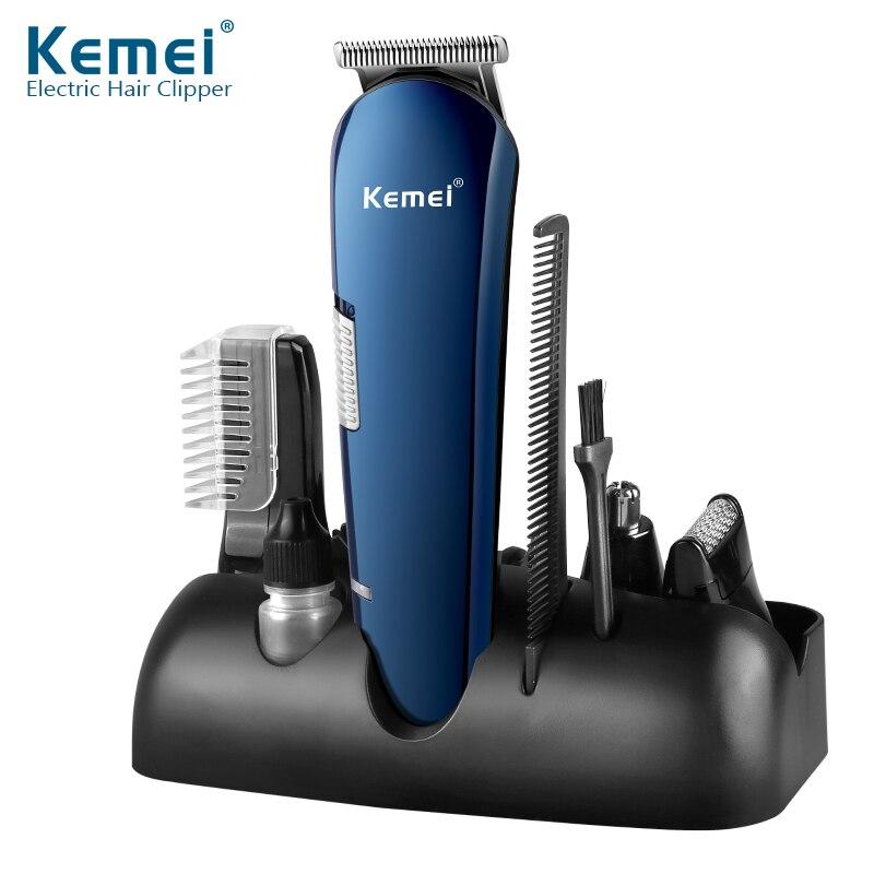 Kemei 5 dans 1 Rechargeable Tondeuse Titane Cheveux Clipper Rasoir Électrique Barbe Tondeuse USB Charge Rasage Tondeuses 550