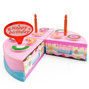 Image 3 - 9PCS DIY Birthday Cake Cutting Pretend Play House Food Set Pink Blue Colors Educational Kitchen Toys Gift for Girls Kid Children