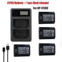 4pc NP FZ100 Battery+npfz100 NP fz100 Smart LED Double Hole Battery Charger For Sony Alpha 9 A9 9R A9R 9S A9S A7RIII A7R3 BC QZ1