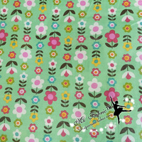 140X100cm Green Background Small Flowers Printed Cotton Fabric for Woman Bags Clothes Dress Sewing Patchwork DIY-AFCK131