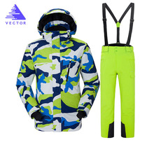 цена на Men Skiing and Snowboarding Sets Super Warm Waterproof Windproof Snowboard Jacket+pant Winter Snow Suits Male Clothes