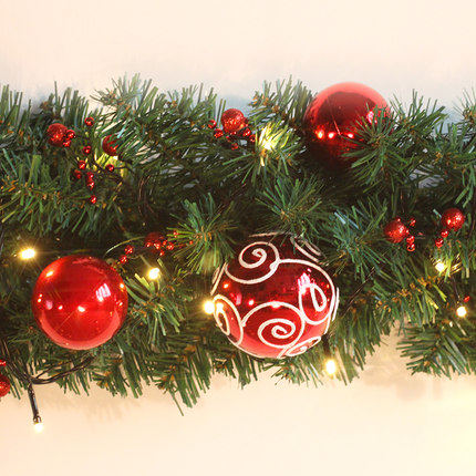 2 7m Christmas Garland Green With Red Gold Bows Lights Ornaments Decorations For Home