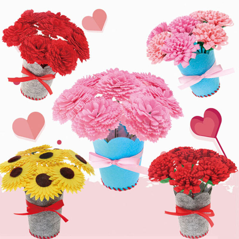 Children DIY Handmade Flower Crafts Toy Non-woven Kindergarten Manual Material Package Home Creative Decorative Flower Bouquet