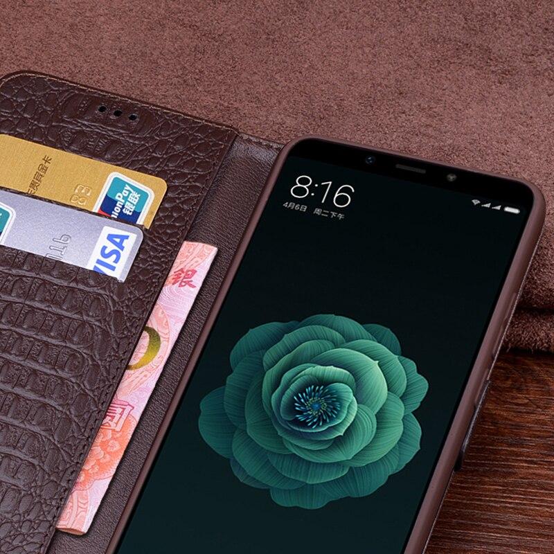 Xiao mi mi Max 3 étui de luxe en cuir véritable flip portefeuille coque de téléphone Xiao mi MAX3 vintage kick-stand antichoc cas - 4