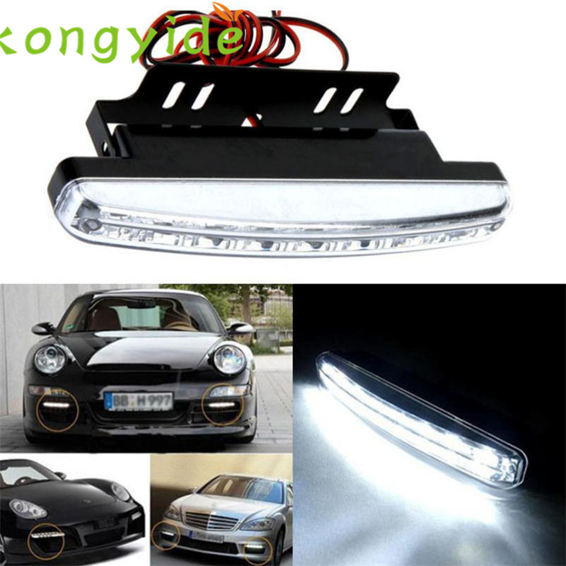 2017 Luz de nevoeiro car-styling 8LED Daytime Driving Running Light DRL Car Fog Lamp Waterproof White DC 12V Apri24 1 pair metal shell eagle eye hawkeye 6 led car white drl daytime running light driving fog daylight day safety lamp waterproof