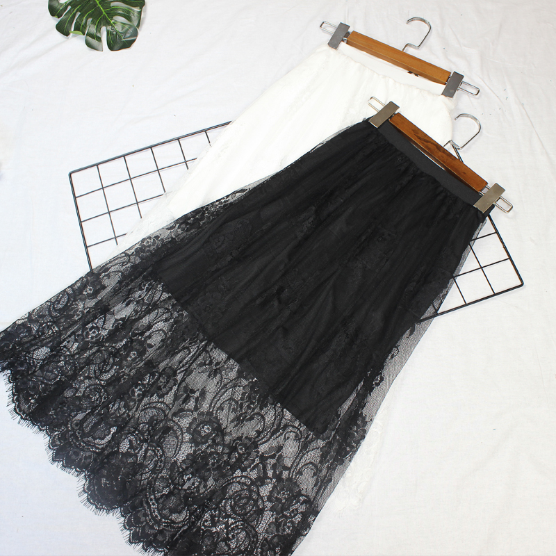 Women Summer Sexy Lace Mesh Long Midi Skirt Casual Vintage High Waist Hollow Out Slim All-Match Lining Black White  Skirt 210