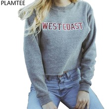 New Moletom Feminino 2017 Spring Letters Printed Short Sweatshirts Women Gray Hoodies Harajuku West Coast Cropped Sweatshirts