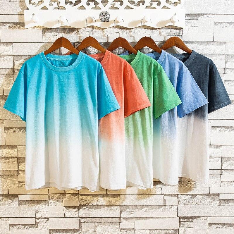 2019 5pcs/lot New Fashion Brand O-Neck Slim Short Sleeve T Shirt Men Trend Casual Mens T-Shirt Korean Gradient Color T Shirts