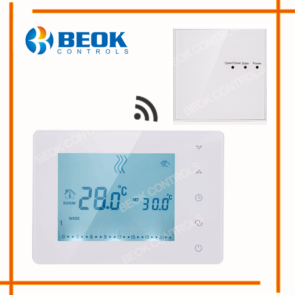 Beok Weekly Programmable Wireless Thermostat Controls Digital Screen ...