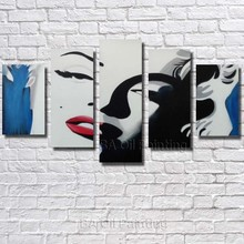 Free Shipping Hand Painted Modern Oil Painting On Canvas Poster Wall Art Home Decoration 5pcs/set Marilyn Monroe Portrait(China)