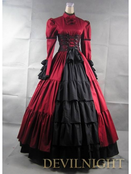 56bd9f1487b3 Red and Black Long Sleeves Masquerade Gothic Ball Gowns-in Holidays ...