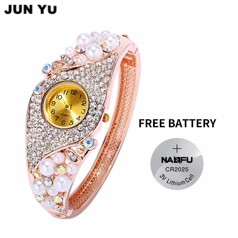 JUNYU  Women Fashion  Bali Style White Simulated Pearl Bracelet watch Retro Rhinestones Cuff Bangle Watch New тарелка bebe confort 6 18 мес с крышкой зеленая 31000304