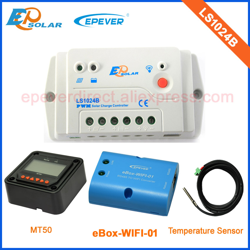 10A LS1024B PWM Solar battery charger with MT50 remote meter and temperature sensor wifi box 12v 24v auto type