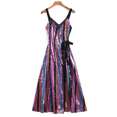 Women Long Sequined Bling Bling Dress Shine Glitter Longer Party Dress  Elegant Rainbow Dresses Empire Waist Camin Dresses c58050a73599
