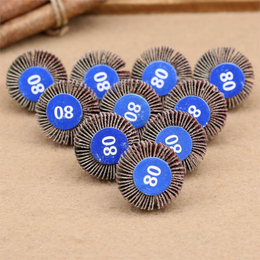 Dophee 10PCS 80#Grit Sanding Sandpaper Flap Wheel Disc Set Handle Shutter Wheel Polishing Wheel For Dremel Rotary Tools