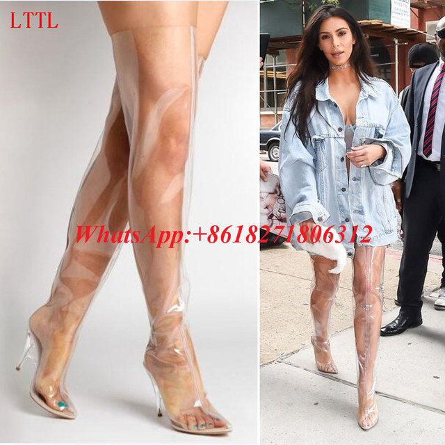 39e73583edbe2 Fashion 2017 Clear Perspex Stiletto High Heels Kim Kardashian Shoes  Transparent Plastic Thigh High Boots Women PVC Rain Booties