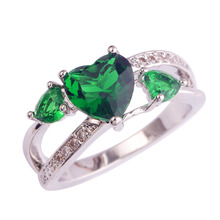 Lingmei women Green Gems Jewelry Silver Plated plated Ring Size 6 7 8 9 10 wholesale Free shipping