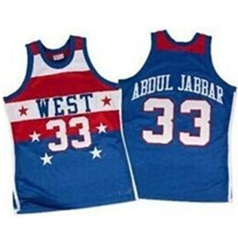 Prix pour Kareem Abdul Jabbar 1980 All Star Basket-Ball Jersey Points De Broderie Personnaliser n'importe quelle taille et nom