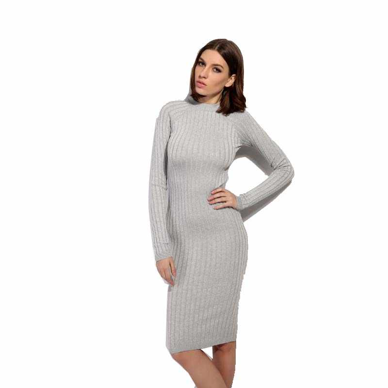 Warm and Charm Women Sweater Dress 2018 Fall Winter Long Sexy Lurex Bodycon Dresses Elastic Striped Skinny Knitted Dress
