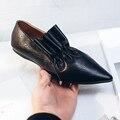 2017 Новая мода марка весна обувь черный толстый каблук острым носом натуральная кожа женщины насосы скольжения на сладкий sexy lady причинно обуви