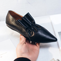 2017 New fashion brand spring shoes black thick heel pointed toe genuine leather women pumps slip on sweet sexy lady causal shoe