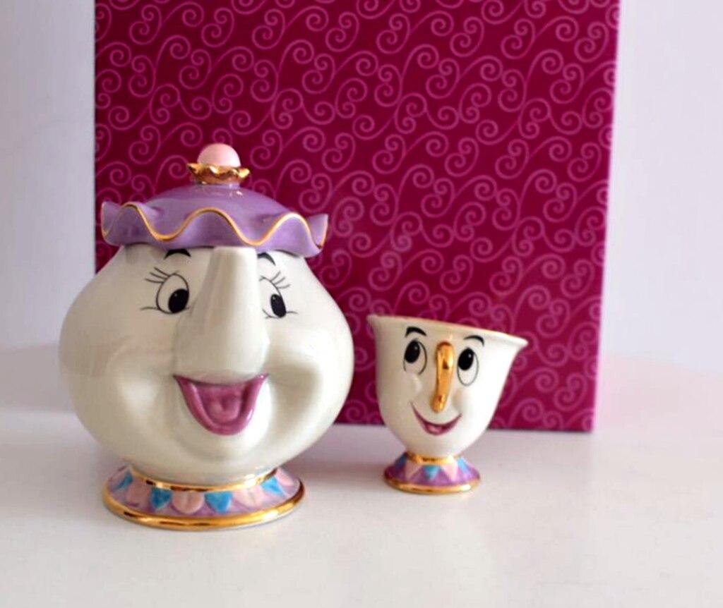Cartoon Beauty And The Beast Teapot Mug Mrs Potts Chip Tea Pot Cup 2PCS One Set for Friend Gift