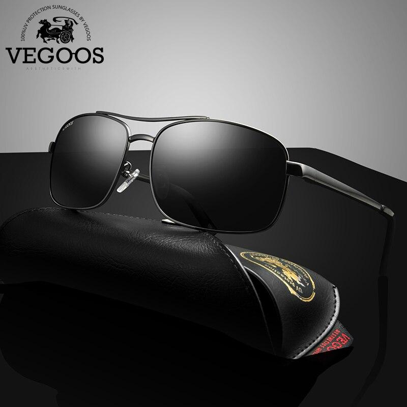 VEGOOS Brand Designer Polarized Sunglasses Men sun glasses whole retro aviation stainless frame oculos de sol