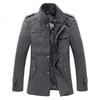 IANLAN British Style Autumn & Winter Mens Wool Coats Long Standing Collar Windbreaker Parka Male Business Jackets IL00495