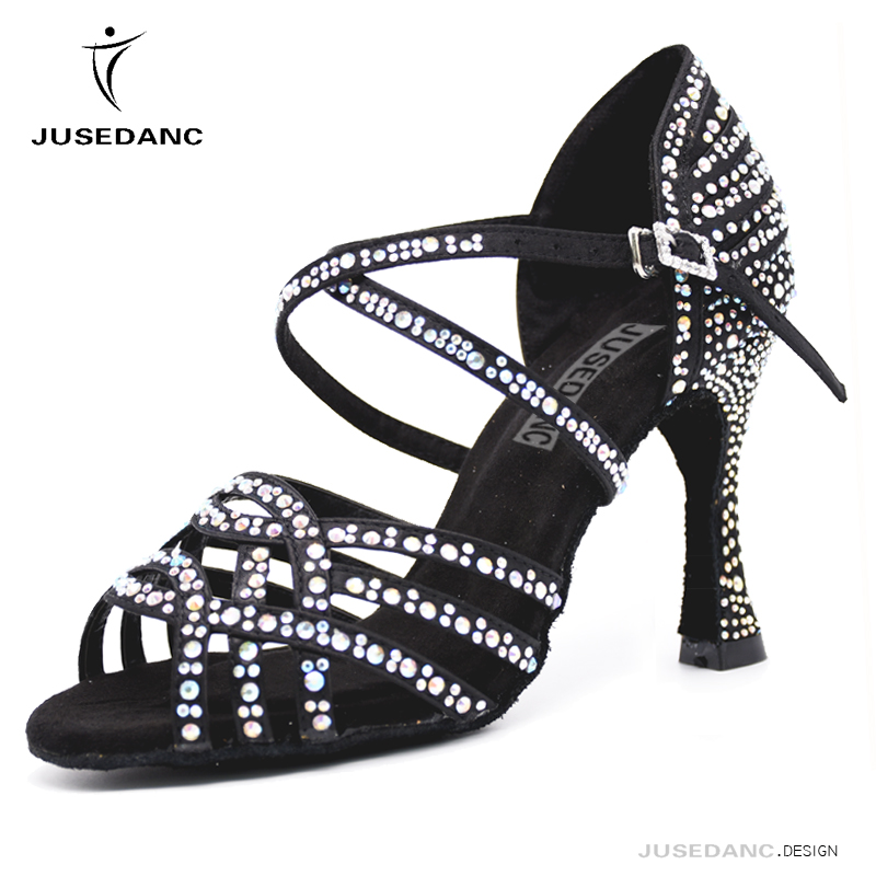Shoes Latin Dance Girls Ballroom Latin Shoes Tango Women Shoes Black High Dance Shoes Full Rhinestone JuseDanc