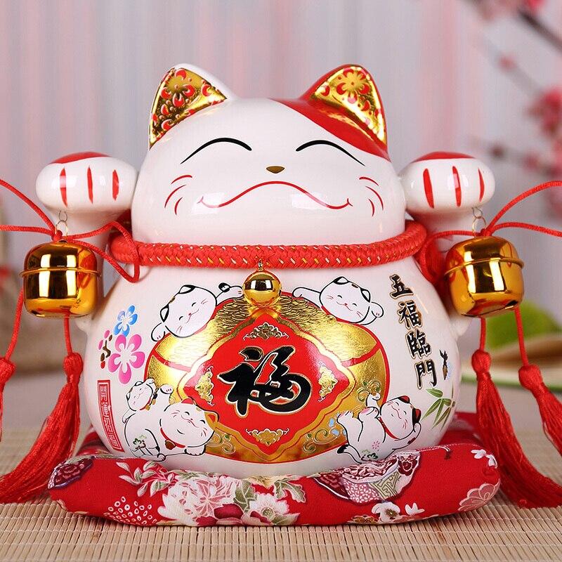 Creative White Lucky Cute Cat Piggy Bank Animal Figurines Maneki Neko Kitten Ceramic Cat Money Box Home Desktop Decoration R1920