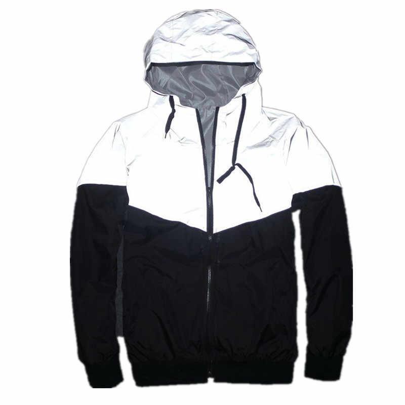 Новая Светоотражающая куртка для мужчин/женщин harajuku ветровка куртки с капюшоном хип-хоп Уличная Ночная блестящая куртка на молнии