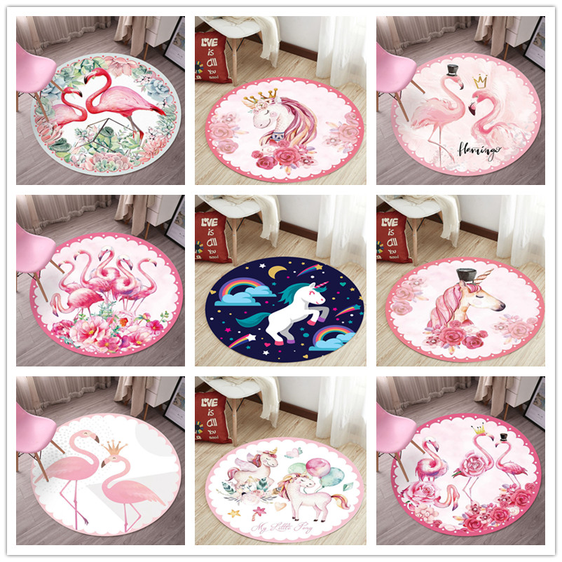 Cartoon Kids Room Area Rugs Pink Unicorn/Flamingo Series Child Round Carpets For Living Room Bedroom Play Carpet Baby Crawl Mats