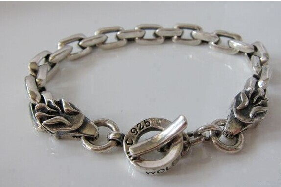 S925 men's fashion wholesale silver jewelry handmade vintage silver double personality Party leading Bracelet wholesale silver jewelry manufacturers s925 mens fashion silver silver bracelet handmade coarse twist 7m