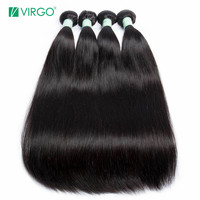 Virgo Hair Peruvian Straight Hair 4 Bundles Deals Remy Hair Weave 100% Real Human Hair Bundles 10 28 Natural Color Extensions