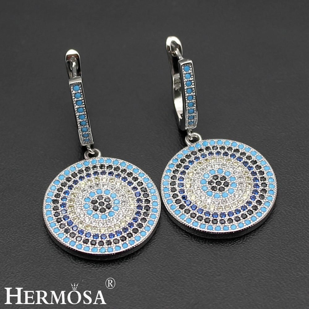 Fashion Round Nano Jewelry 925 Sterling Silver Earrings Amazing Party Gift Pretty Women Wedding Jewellry ...